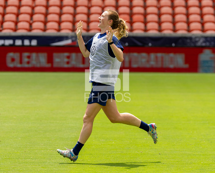 HOUSTON, TX - JUNE 9: Samantha Mewis #3 of the USWNT celebrates during a training session at BBVA Stadium on June 9, 2021 in Houston, Texas.