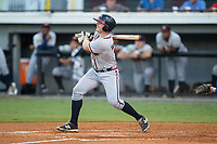 Garrison Schwartz (18) of the Danville Braves follows through on a 3-run home run during the game against the Burlington Royals at Burlington Athletic Stadium on August 12, 2017 in Burlington, North Carolina.  The Braves defeated the Royals 5-3.  (Brian Westerholt/Four Seam Images)