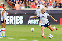 HOUSTON, TX - JUNE 10: Lindsey Horan #9 of the United States warming up before a game between Portugal and USWNT at BBVA Stadium on June 10, 2021 in Houston, Texas.