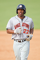Destin Hood #22 of the Hagerstown Suns at Fieldcrest Cannon Stadium August 8, 2010, in Kannapolis, North Carolina.  Photo by Brian Westerholt / Four Seam Images