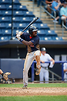Lowell Spinners designated hitter Xavier LeGrant (15) at bat during a game against the Staten Island Yankees on August 22, 2018 at Richmond County Bank Ballpark in Staten Island, New York.  Staten Island defeated Lowell 10-4.  (Mike Janes/Four Seam Images)