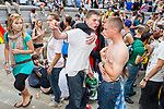 © Joel Goodman - 07973 332324 . 02/07/2011 . London , UK . People watch the acts on stage in Trafalgar Square . Tens of thousands take part in the annual Pride march in London . Photo credit : Joel Goodman