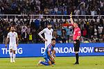 FIFA Referee Tantashev Ilgiz of Uzbekistan (R) shows Hamad Mahmood Alshamsan of Bahrain the yellow card during the AFC Asian Cup UAE 2019 Group A match between India (IND) and Bahrain (BHR) at Sharjah Stadium on 14 January 2019 in Sharjah, United Arab Emirates. Photo by Marcio Rodrigo Machado / Power Sport Images