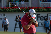 5th September 2021: Atlanta, Georgia, USA;  Jon Rahm (ESP)  misses a chip by inches not the 18th green during the final round of the PGA TOUR Championship on September 5, 2021 at East Lake Golf Club in Atlanta, GA. (Photo by John Adams/Icon Sportswire)