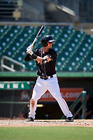 Jupiter Hammerheads first baseman Micah Brown (4) at bat during a game against the Palm Beach Cardinals on August 5, 2018 at Roger Dean Chevrolet Stadium in Jupiter, Florida.  Jupiter defeated Palm Beach 3-0.  (Mike Janes/Four Seam Images)