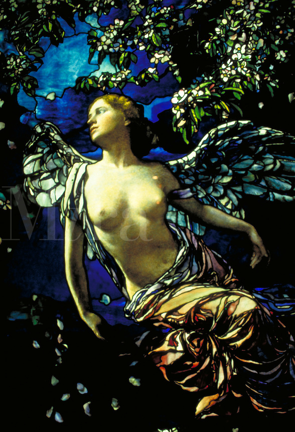 This impressive stained glass window depicting a beautiful winged angel is a fine example of the art collection of the Philadelphia museum of art in Pennsylvania. Philadelphia Pennsylvania, Philadelphia Museum of Art.