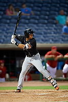 Jupiter Hammerheads shortstop Joe Dunand (3) at bat during a game against the Clearwater Threshers on April 12, 2018 at Spectrum Field in Clearwater, Florida.  Jupiter defeated Clearwater 8-4.  (Mike Janes/Four Seam Images)