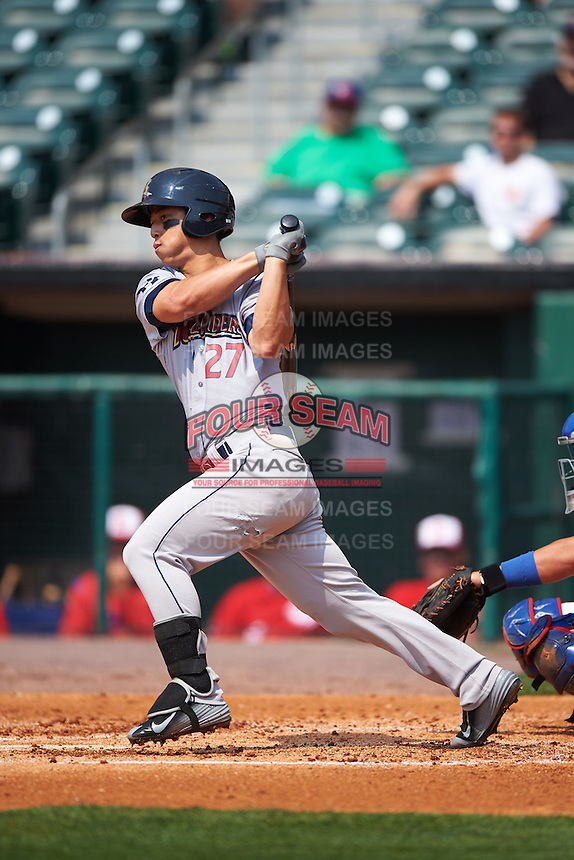 Scranton/Wilkes-Barre RailRiders second baseman Rob Refsnyder (27) at bat during a game against the Buffalo Bisons on June 10, 2015 at Coca-Cola Field in Buffalo, New York.  Scranton/Wilkes-Barre defeated Buffalo 7-2.  (Mike Janes/Four Seam Images)