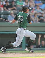 Outfielder Devin Harris (23) of the Augusta GreenJackets, Class A affiliate of the San Francisco Giants, in a game against the Greenville Drive on April 10, 2011, at Fluor Field at the West End in Greenville, S.C. Photo by Tom Priddy / Four Seam Images