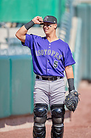 Dom Nunez (5) of the Albuquerque Isotopes before the game against the Salt Lake Bees at Smith's Ballpark on April 27, 2019 in Salt Lake City, Utah. The Isotopes defeated the Bees 10-7. This was a makeup game from April 26, 2019 that was cancelled due to rain. (Stephen Smith/Four Seam Images)