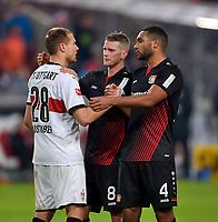 08.12.2017,  Football 1.Liga 2017/2018, 15. match day, VfB Stuttgart - Bayer Leverkusen, in Mercedes Benz Arena Stuttgart. Lars Bender (Leverkusen) and Jonathan Tah (Leverkusen) troesten Holger Badstuber (Stuttgart) . *** Local Caption *** © pixathlon<br /> <br /> +++ NED + SUI out !!! +++<br /> Contact: +49-40-22 63 02 60 , info@pixathlon.de