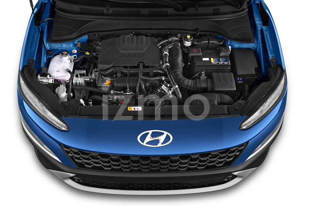 Car Stock 2021 Hyundai Kona Techno 5 Door SUV Engine  high angle detail view