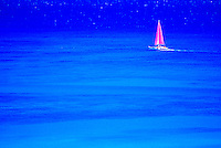 Brilliant blue water completely surrounds a white catamaran cruising off the coast of Waikiki with billowing fuschia pink sails. Great color contrast between the blue and pink.