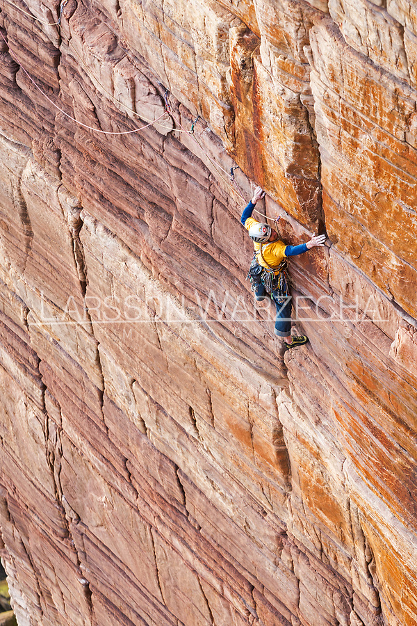Andy Turner on the 'Mucklehouse Wall' E5 6a, Hoy, Scotland
