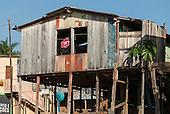 Altamira port, Para State, Brazil. Boatbuilder's home.