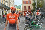 Masked CCC Team riders at sign on before Stage 2 of the Route d'Occitanie 2020, running 174.5km from Carcassone to Cap Découverte, France. 2nd August 2020. <br /> Picture: Colin Flockton | Cyclefile<br /> <br /> All photos usage must carry mandatory copyright credit (© Cyclefile | Colin Flockton)