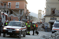 Collapsed buildings in the village of Amatrice, central Italy, hit by a magnitude 6 earthquake at 3,36 am, 24 August 2016.<br /> Una veduta degli edifici crollati dopo il terremoto che alle 3,36 del mattino ha colpito Amatrice, 24 agosto 2016.<br /> UPDATE IMAGES PRESS/Isabella Bonotto