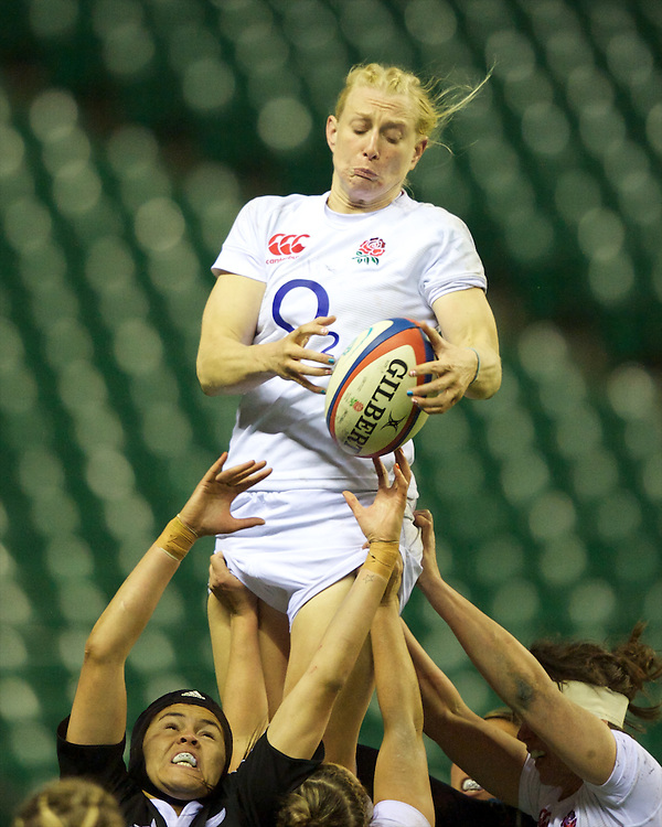 Tamara Taylor of England Women wins the lineout ball during the test match between England Women and the Black Ferns at Twickenham on Saturday 01 December 2012 (Photo by Rob Munro)