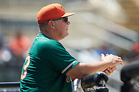 Greensboro Grasshoppers manager Todd Pratt (55) watches the action from the dugout during the game against the Kannapolis Intimidators at Kannapolis Intimidators Stadium on August 5, 2018 in Kannapolis, North Carolina. The Grasshoppers defeated the Intimidators 2-1 in game one of a double-header.  (Brian Westerholt/Four Seam Images)
