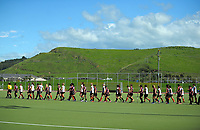 The teams walk out for the women's match between NZ Maori and Hawke's Bay at the 2017 National Affiliates Cup tournament at Park Island in Napier, New Zealand on Thursday, 6 April 2017. Photo: Dave Lintott / lintottphoto.co.nz