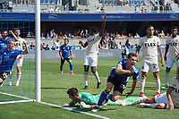 SAN JOSE, CA - AUGUST 8: Nathan Cardoso #13 of the San Jose Earthquakes celebrates scoring during a game between Los Angeles FC and San Jose Earthquakes at PayPal Park on August 8, 2021 in San Jose, California.
