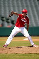 Pitcher Mitch Bratt (6) during the Baseball Factory All-Star Classic at Dr. Pepper Ballpark on October 4, 2020 in Frisco, Texas.  Pitcher Mitch Bratt (6), a resident of Newmarket, Ontario, Canada, attends Newmarket High School.  (Ken Murphy/Four Seam Images)