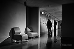Dayton Art Institute black and white interior of people viewing art