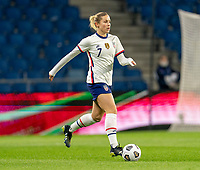 LE HAVRE, FRANCE - APRIL 13: Abby Dahlkemper #7 of the USWNT dribbles during a game between France and USWNT at Stade Oceane on April 13, 2021 in Le Havre, France.