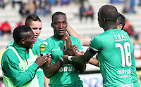 TUNJA -COLOMBIA, 19-09-2015. Jugadores de La Equidad celebran un gol anotado a Patriotas FC durante partido por la fecha 13 de la Liga Postobón II 2014 realizado en el estadio La Independencia de Tunja./ Players of La Equidad celebrate a goal against Patriotas FC during match for the 13th date of Postobon  League II 2014 played at  La Independencia stadium in Tunja. Photo: VizzorImage/César Melgarejo/STR