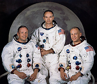 The Crew of Apollo XI as selected by NASA in May 1969: Left to right: Neil A. Armstrong, commander; Michael Collins, command module pilot; and Edwin E. Aldrin Jr., lunar module pilot
