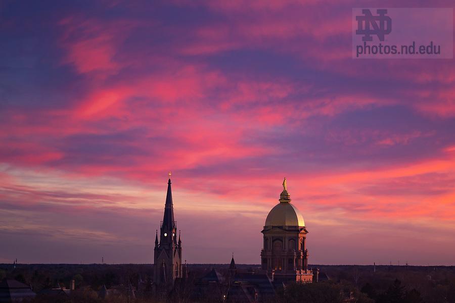 April 23, 2019; Campus skyline at sunset (Photo by Matt Cashore/University of Notre Dame)