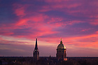 April 23, 2019; Campus skyline at sunset (Photo by Matt Cashore/University of Notre Dame)