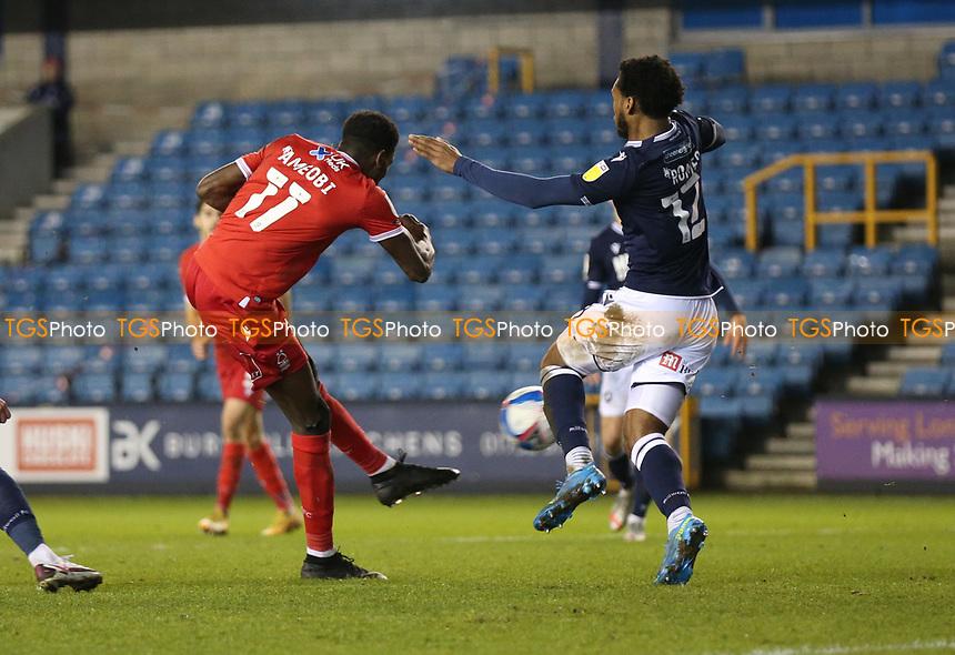 Sammy Ameobi of Nottingham Forest shot is blocked during Millwall vs Nottingham Forest, Sky Bet EFL Championship Football at The Den on 19th December 2020