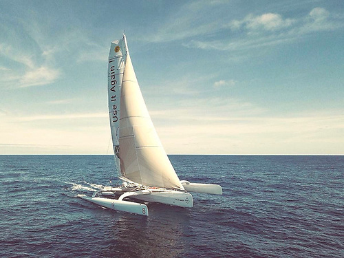 Romain Pilliard is using Dame Ellen MacArthur's ex-trimaran to promote circular economy and ocean protection on Use it Again! Photo: Imbaud Verhaegen