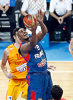 "France`s  Boris Diaw (L) in action during European basketball championship ""Eurobasket 2013"" semifinal basketball game between Spain and France in Stozice Arena in Ljubljana, Slovenia, on September 20. 2013. (credit: Pedja Milosavljevic  / thepedja@gmail.com / +381641260959)"