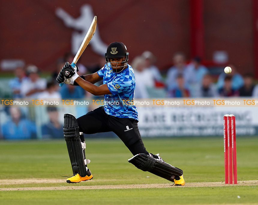 Delray Rawlins hits out for Sussex during Kent Spitfires vs Sussex Sharks, Vitality Blast T20 Cricket at The Spitfire Ground on 18th July 2021