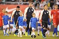 EAST RUTHERFORD, NJ - SEPTEMBER 7: Andres Guardado #18 of Mexico, Hector Herrera #16 of Mexico, Carlos Rodriguez #8 of Mexico entering the field during a game between Mexico and USMNT at MetLife Stadium on September 6, 2019 in East Rutherford, New Jersey.