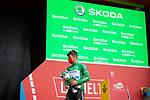 Green Jersey Fabio Jakobsen (NED) Deceuninck-Quick-Step at sign on before Stage 18 of La Vuelta d'Espana 2021, running 162.6km from Salas to Alto del Gamoniteiru, Spain. 2nd September 2021.   <br /> Picture: Cxcling   Cyclefile<br /> <br /> All photos usage must carry mandatory copyright credit (© Cyclefile   Cxcling)