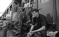 - War in the former Yugoslavia, train of Bosnian refugees escaping from ethnic cleansing of Serbs blocked in the Croatian city of Zaprevic (July 1992)<br /> <br /> - Guerra in ex-Yugoslavia, treno di profughi bosniaci in fuga dalla pulizia etnica dei Serbi bloccato in Croazia nella città di Zaprevic (luglio 1992)