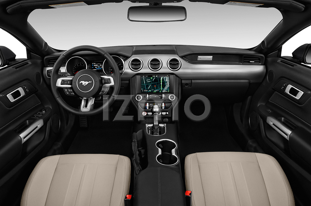 Stock photo of straight dashboard view of a 2020 Ford Mustang EcoBoost 2 Door Convertible