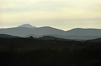 View of the Cevennes mountains from the village Savignargues Languedoc. France. Europe. Mountains in the background.