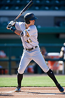 Bradenton Marauders center fielder Jared Oliva (43) at bat during the first game of a doubleheader against the Lakeland Flying Tigers on April 11, 2018 at Publix Field at Joker Marchant Stadium in Lakeland, Florida.  Lakeland defeated Bradenton 5-4.  (Mike Janes/Four Seam Images)