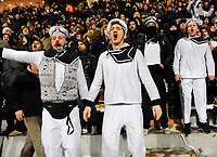 Pictured: PAOK supporters dressed as sailors in Toumba Stadium in Thessaloniki, Greece. Sunday 25 February 2018<br /> Re: Sunday's Greek Super League derby between PAOK Thessaloniki and Olympiakos was called off after Olympiakos' manager Oscar Garcia was struck in the face by an object believed to be a till machine paper roll, thrown by a spectator minutes before kick-off.<br /> Garcia left Toumba Stadium for a local hospital to seek treatment for a bloodied lip.<br /> The incident prompted the Olympiakos team to leave the pitch in protest before riots erupted outside the ground.<br /> Angry PAOK fans leaving the stadium then clashed with police who used tear gas to quell the violence.