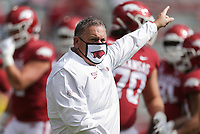 Arkansas head coach Sam Pittman gestures, Saturday, October 17, 2020 before the start of Arkansas' 33-21 win over Ole Miss at Donald W. Reynolds Razorback Stadium in Fayetteville. Check out nwaonline.com/201018Daily/ for today's photo gallery. <br /> (NWA Democrat-Gazette/Charlie Kaijo)