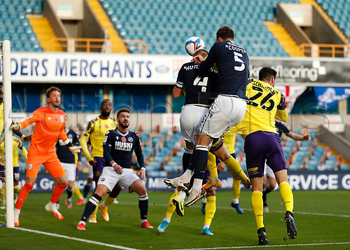 31st October 2020; The Den, Bermondsey, London, England; English Championship Football, Millwall Football Club versus Huddersfield Town; Shaun Hutchinson of Millwall heads the ball from a Millwall corner
