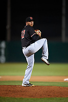 Visalia Rawhide relief pitcher Robby Sexton (17) delivers a pitch during a California League game against the Lancaster JetHawks at The Hangar on May 17, 2018 in Lancaster, California. Lancaster defeated Visalia 11-9. (Zachary Lucy/Four Seam Images)