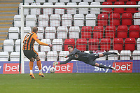 Tom Eaves of Hull City scores the first goal for his team from the penalty spot during Stevenage vs Hull City, Emirates FA Cup Football at the Lamex Stadium on 29th November 2020