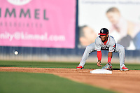 Lakewood BlueClaws shortstop Luis Garcia (3) fields the ball during a game against the Asheville Tourists at McCormick Field on June 13, 2019 in Asheville, North Carolina. The BlueClaws defeated the Tourists 4-3. (Tony Farlow/Four Seam Images)
