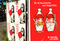 Two asian influenced posters in Montreal<br /> One for a Japan exhibtion and the other for Coke soft drink<br /> Photo by Pierre Roussel / Images Distribution