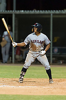 AZL Indians 2 catcher Noah Naylor (12) at bat during an Arizona League game against the AZL Cubs 2 at Sloan Park on August 2, 2018 in Mesa, Arizona. The AZL Indians 2 defeated the AZL Cubs 2 by a score of 9-8. (Zachary Lucy/Four Seam Images)